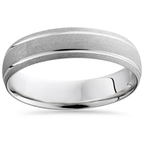 10K White Gold Mens Brushed Double Inlay Wedding Band
