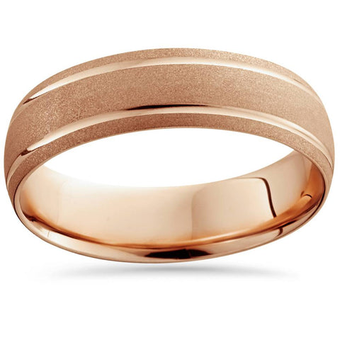 14K Rose Gold Mens Brushed Dome Double Line Wedding Band 6mm Wide Ring