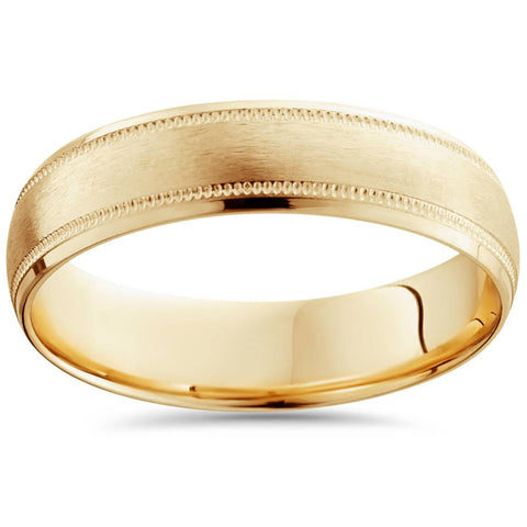Solid 18K Yellow Gold Brushed Polished 6mm High Quality Wedding Ring Band 7-12