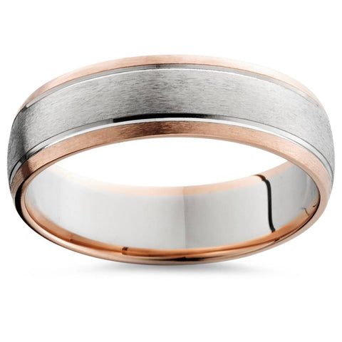 14K Rose & White Gold Two Tone Mens Wedding Band