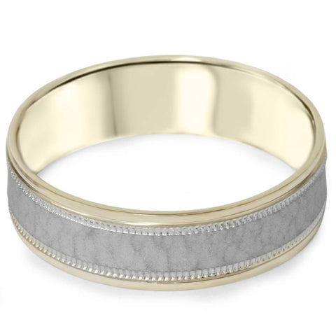 Hammered Two Tone Wedding Band Mens 14K White & Yellow Gold Brushed Ring 6MM