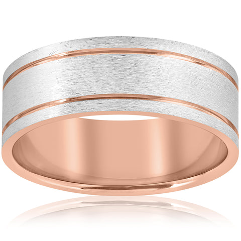14k Rose Gold 8MM Two Tone Flat Brushed Comfort Fit Mens Wedding Band