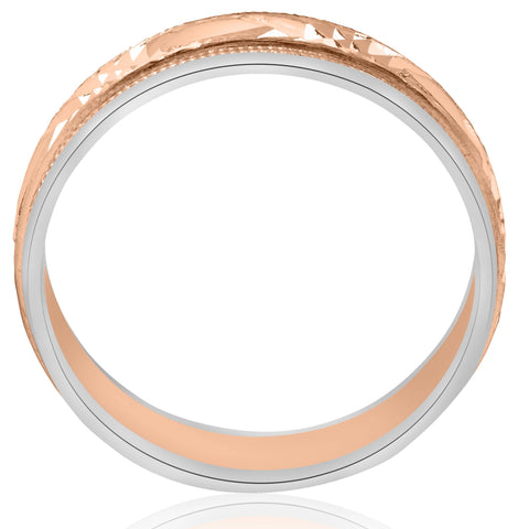 14k Rose Gold & White Two Tone Band Swiss Cut 6mm Mens Brushed Wedding Ring