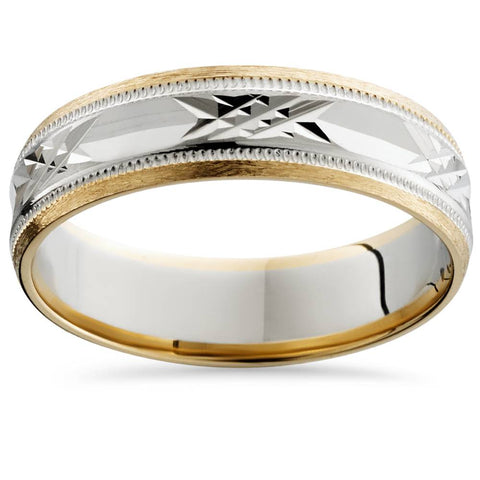 Mens 14K White & Yellow Gold Two Tone 6mm Wedding Band Ring Gold