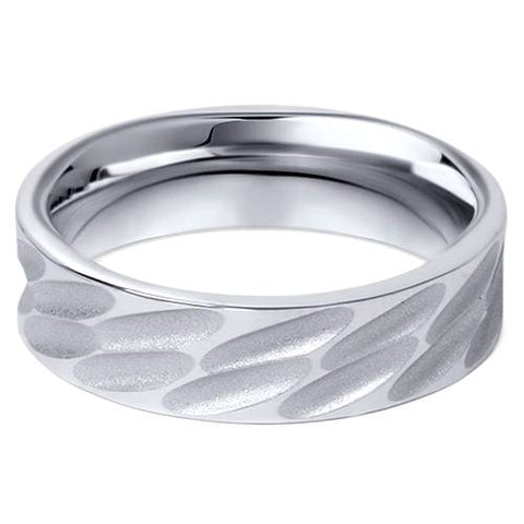 10K White Gold 6mm Comfort Fit Mens Wedding Band