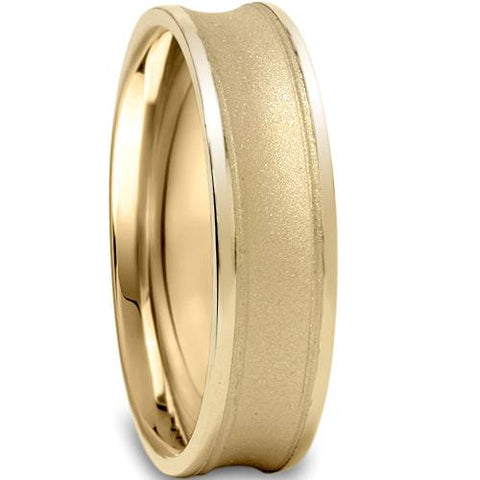 Mens 6mm Brushed Wedding Band Rings Solid 14K Yellow Gold
