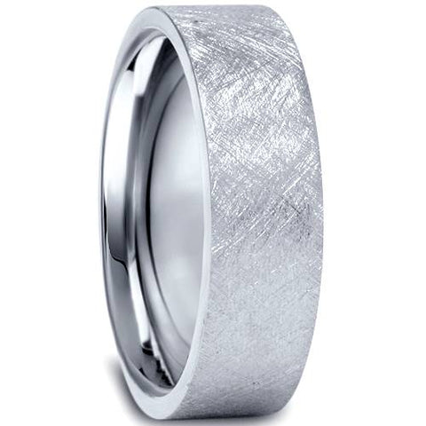 10K White Gold Mens 6mm Flat Brushed Wedding Band