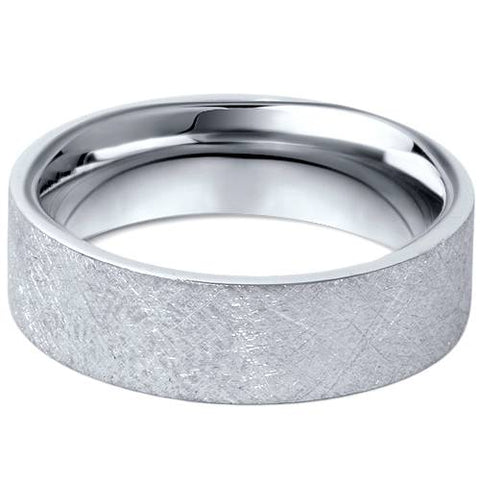 950 Platinum Mens 6mm Flat Brushed Wedding Band