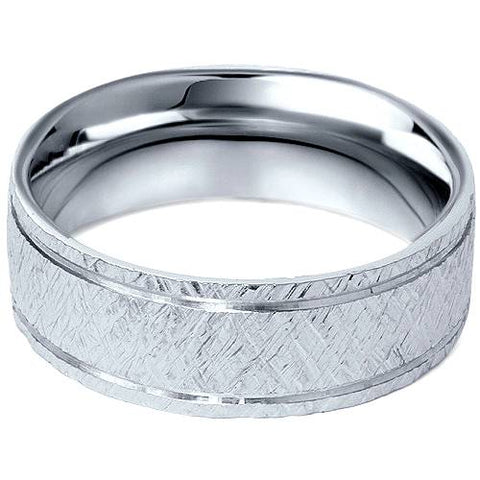 Mens 950 Platinum 7mm Flat Brushed Wedding Band