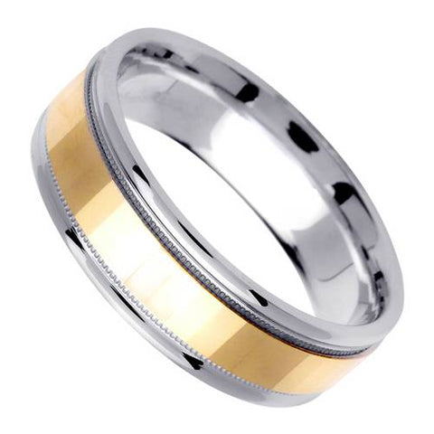 14K 6mm Wide White Gold With Yellow Gold Handmade Wedding Band