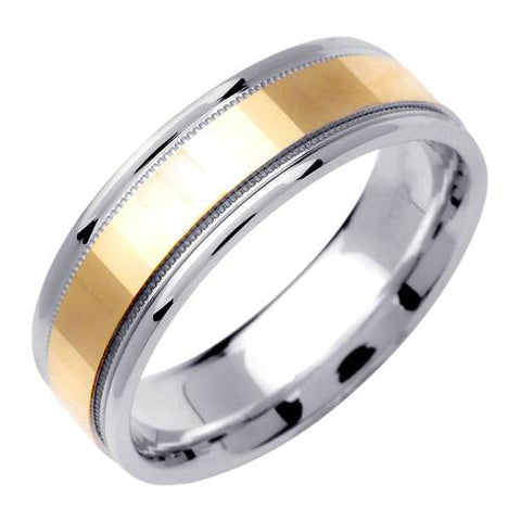 Men's 6MM Two Tonned White & Yellow Gold High Polished Wedding Band Ring
