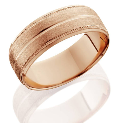 14K Rose Gold Mens Brushed Milgrain Beveled Wedding Band 8mm