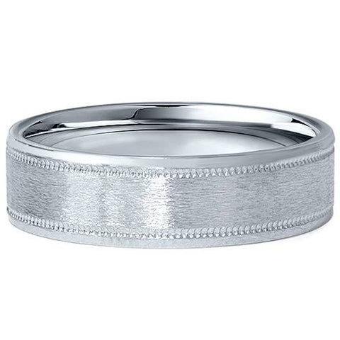 6MM Flat Brushed Platinum Mens Wedding Band Comfort Fit Ring