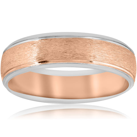 Mens Rose & White 14K Gold 6MM Brushed Two Tone Wedding Band