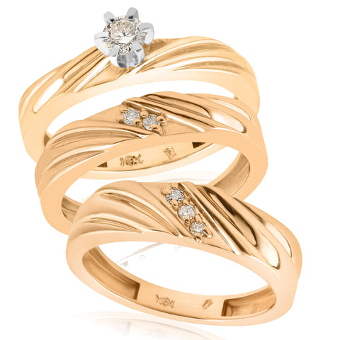 1/3ct Diamond Engagement Trio Wedding Band Set 14K Yellow Gold