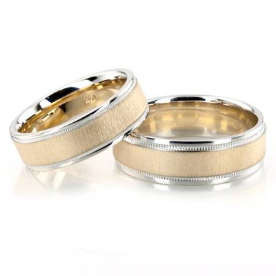 Brushed Wedding Ring Set 14K Gold