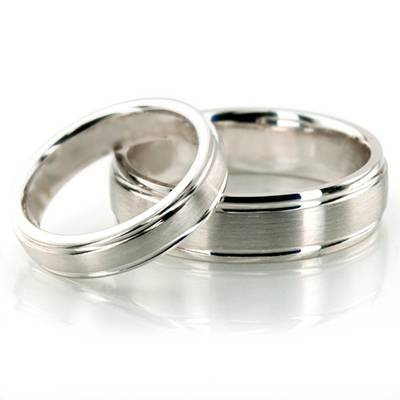 Wedding Band Set 10K White Gold