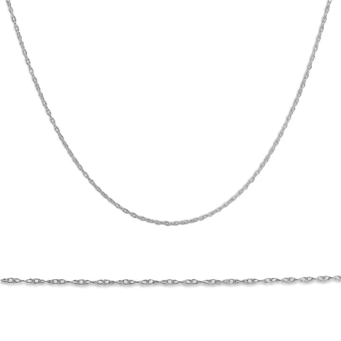 "Solid 14k White Gold 18"" Chain With Spring Ring"