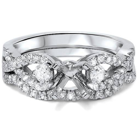 1/2ct Engagement Setting Set Diamond Infinity Style 14K White Gold