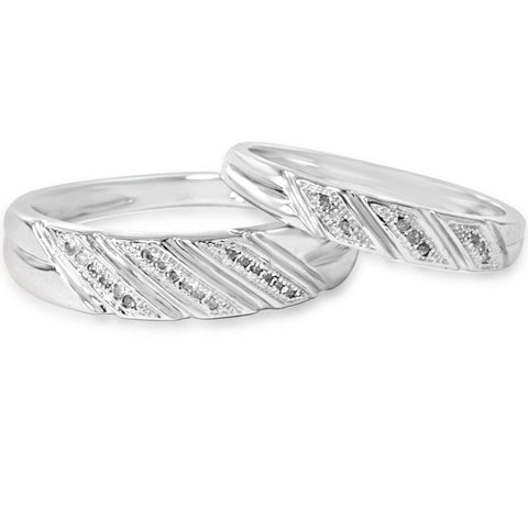 1/4ct His & Hers Diamond Ring Set 10K White Gold
