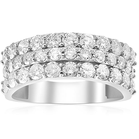 1 3/4ct Diamond Wedding Ring 14K White Gold Womens Triple Three Row Anniversary