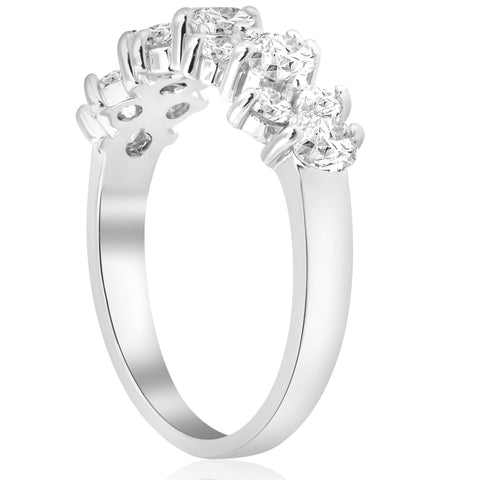 1 1/4 Ct Real Diamond Anniversary Women's Wedding Stackable Ring 14K White Gold