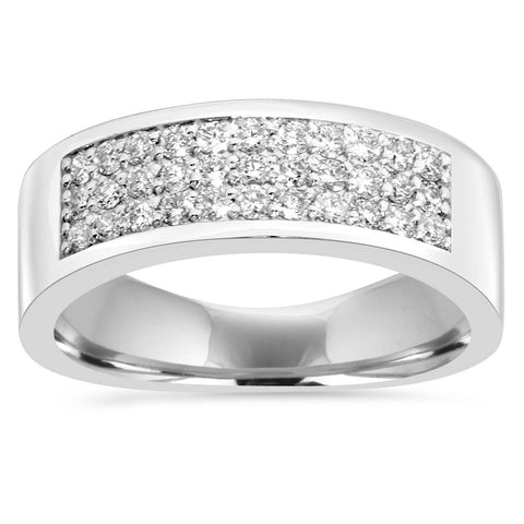 1/2 Ct Diamond Pave Wedding Womens Multi-row Anniversary Ring 14K White Gold