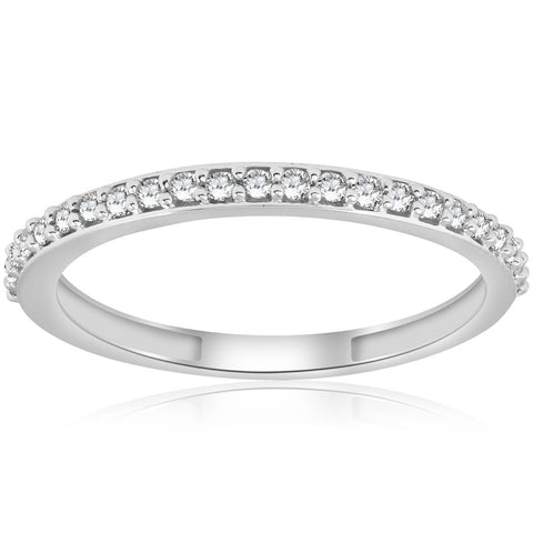 1/8 ct Stackable Womens Delicate Dainty Diamond Wedding Ring White Gold