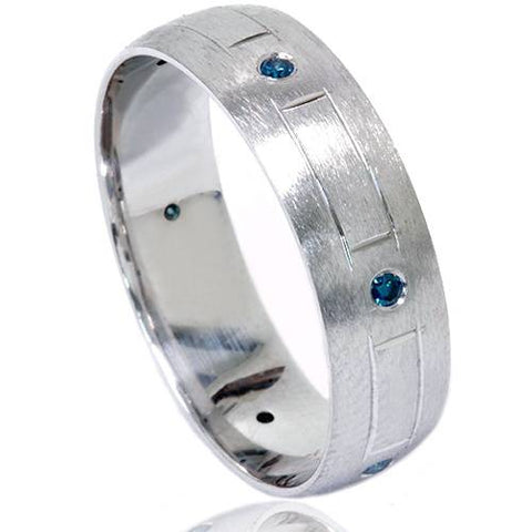 Blue Diamond Swiss Cut Mens Ring 14K Solid White Gold