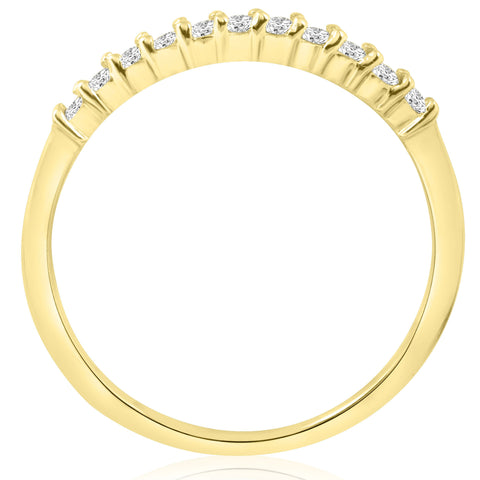 14k Yellow Gold 1/4ct Diamond Wedding Anniversary Ring Womens Stackable Band
