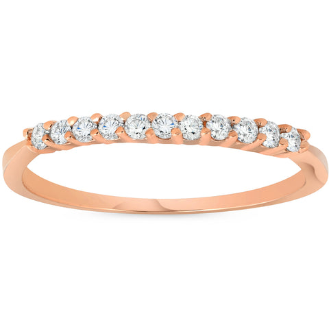 1/4ct Diamond Ring 14K Rose Gold Womens Stackable Wedding Band Prong Jewelry