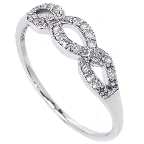 1/10ct Petite Diamond Infinity Stackable Womens Wedding Ring 10K White Gold