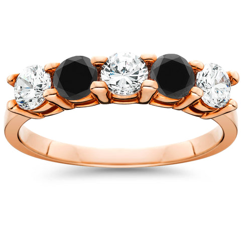 1.25Ct Heat Treated Black & White Diamond 5 Stone Ring 14K Rose Gold
