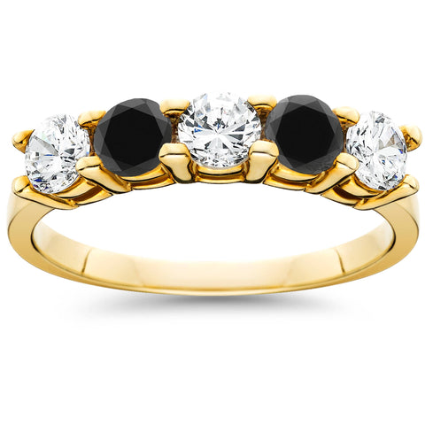 1.25Ct Heat Treated Black & Natural White Diamond 5 Stone Ring 10K Yellow Gold