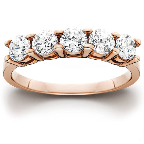 1 1/4 Ct 5 Stone Round Cut Diamond Wedding Anniversary Ring 14K Rose Gold