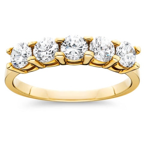 1 cttw Five Stone Diamond Wedding Anniversary Ring 14K Yellow Gold