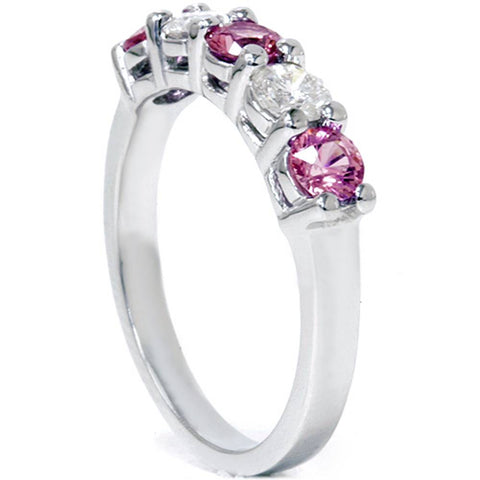 1 1/10ct Pink Sapphire & Diamond Ring 14K White Gold