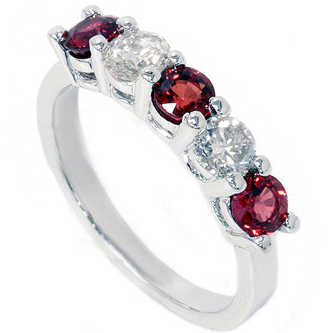 1 1/2ct Red Sapphire & Diamond Wedding Ring 14K White Gold