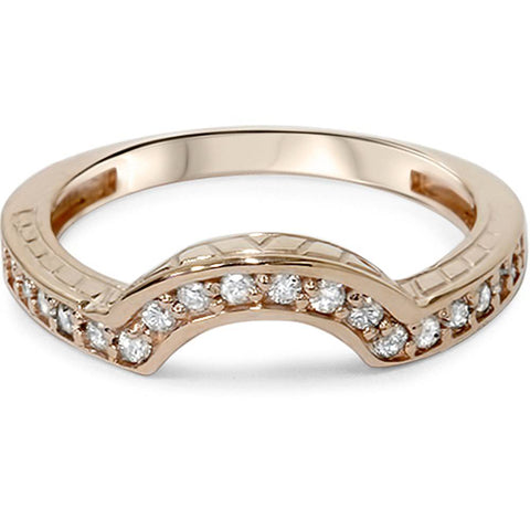 1/4ct Vintage Diamond Curved Guard Ring 14K Rose Gold