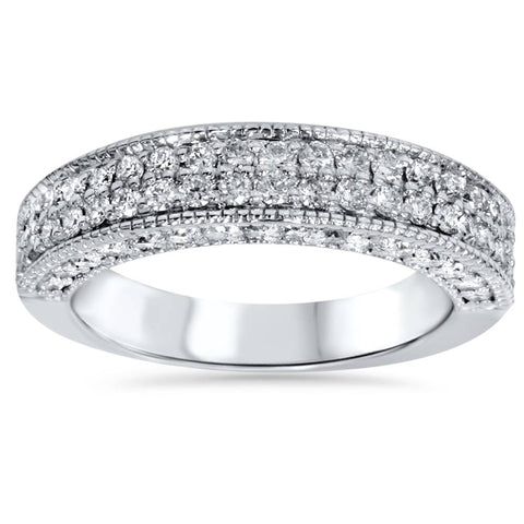 1 1/10ct Pave Diamond Wedding Ring Womens Anniversary Band 14K White Gold