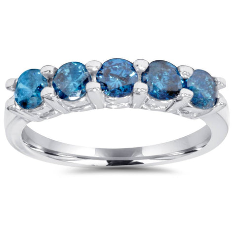 1/2ct Blue Diamond Wedding Ring 14K White Gold
