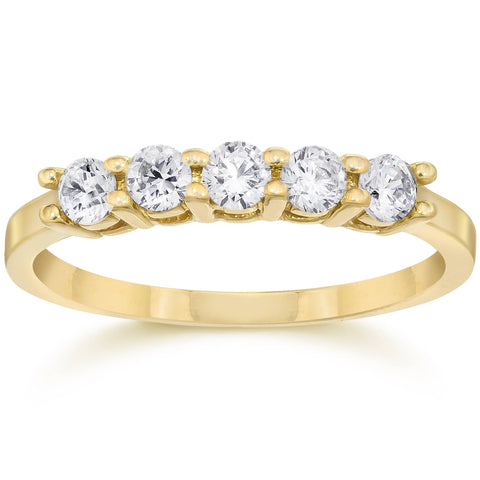 1/2ct Five Stone Diamond Ring 14K Yellow Gold