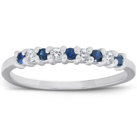 1/4Ct Blue Sapphire & Diamond Wedding Ring 10K White Gold