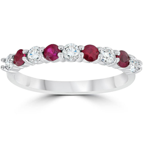 1/2Ct Ruby & Diamond Wedding Ring 10K White Gold