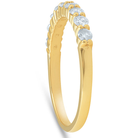 1/2ct Round Diamond Prong Wedding Ring 14k Yellow Gold