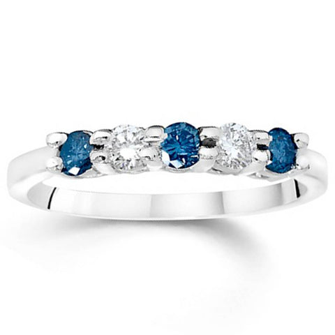 7/8ct Treated Blue & White Diamond 5 Stone 14K White Gold Anniversary
