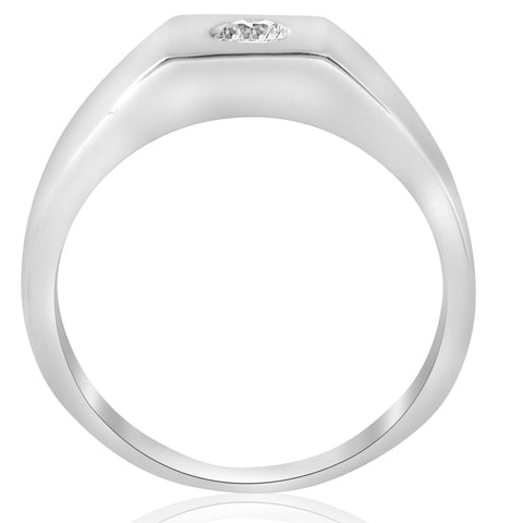 Mens Solid 14k White Gold 1/4ct Solitaire Bezel Diamond Wedding Band Ring