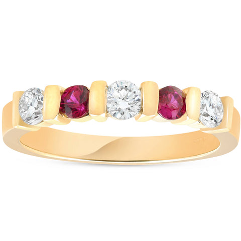 1/2ct Ruby & Diamond Wedding Anniversary 14K Yellow Gold Ring