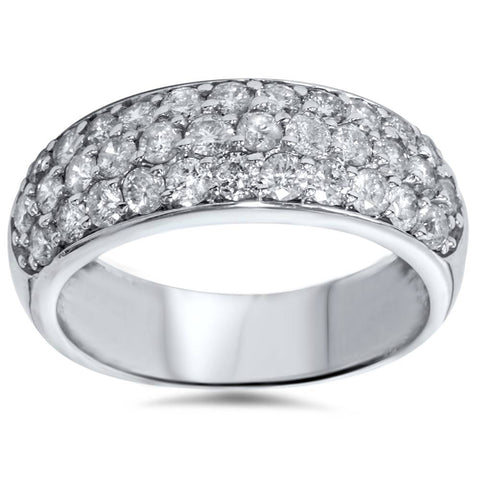 1 1/2ct Pave Diamond Wedding Anniversary 14K White Gold Womens Wide Band