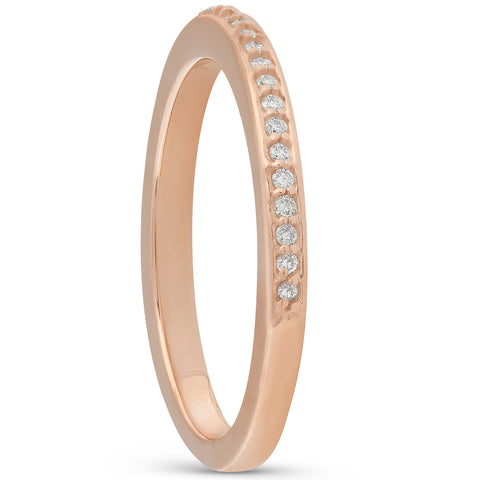 1/10ct Pave Diamond Aniversay Wedding Ring Solid 14K Rose Gold